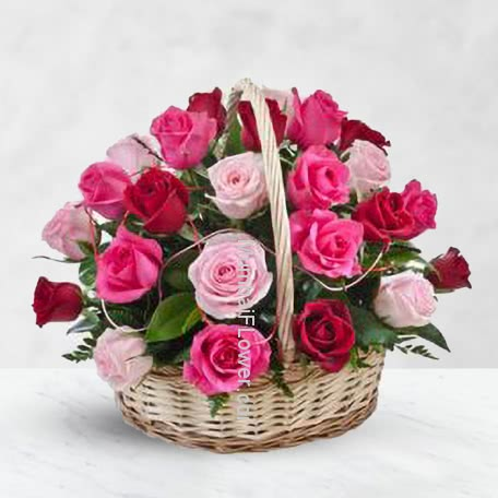 Basket of 30 Red and Pink Roses