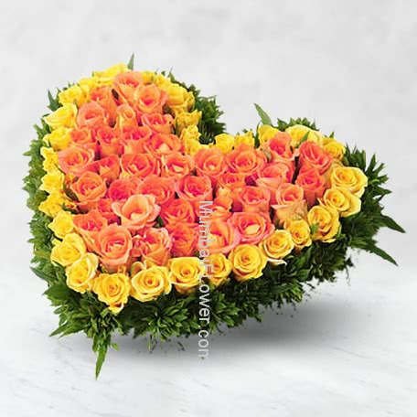 100 Yellow and Orange Roses Heart Shape Arrangement