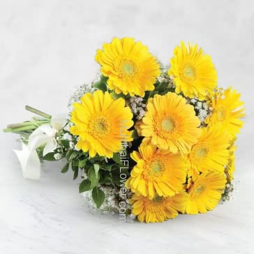 Yellow gerberas are particularly stunning as they are bright and cheerful. Bright and cheerful is exactly how a recipient of a yellow gerbera bouquet will feel.Bunch of 20 Yellow Gerberas  nicely decorated with Ribbons.