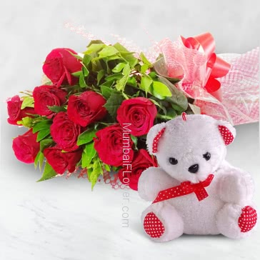 12-15 Inches Teddy with a Bunch of 20 Red Roses.