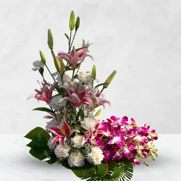 Arrangement of 4 pc Asiatic PinkLilies and 10 Purple Orchids and 10 White  Carnations-Roses