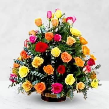 Colorful flowers to fill the heart with colors Bouquet of 30 Mixed Roses with fillers and greens nicely decorated.