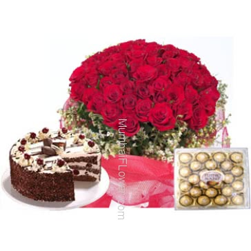Bunch of 100 Red Roses , 24 Pcs Ferrero rocher Box and Half Kg. Black Forest Cake