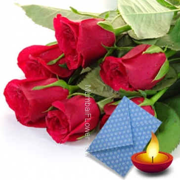 Bunch of 10 red roses nicely wrapped with seasonal fillers and deepawali greeting card.