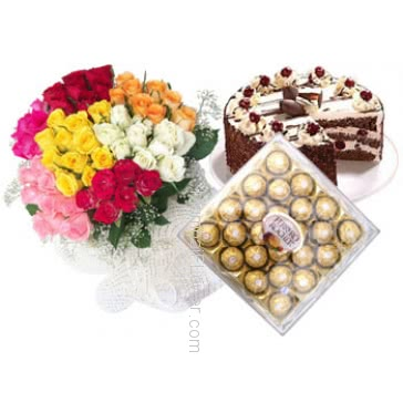 Bunch of 70 stems Of Mixed Roses , Half kg. Black forest Cake & 16 Pcs Ferrero Rocher Box