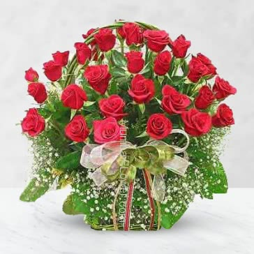 Basket of 35 Red Roses nicely decorated with fillers and ribbons