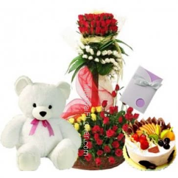 Tall arrangement of 100 Mixed Color roses and 1 kg. Mixed Fruit Cake with 6 inch Teddy  and 1 Simple Greeting Card