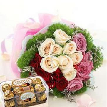 Bunch of 30 Pink, Red and White Roses nicely decorated with 16pc Ferroro Rocher Chocolate