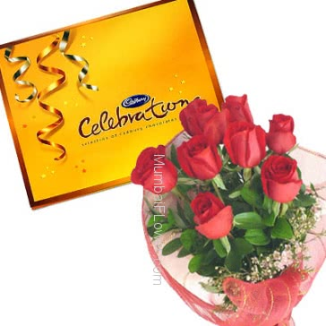 Bunch of 12 Red Roses nicely decorated with Big Cadbury celebration