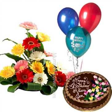 Arrangement of 15 mixed colored gerberas nicely decorated with half kg. chocolate cake and balloons