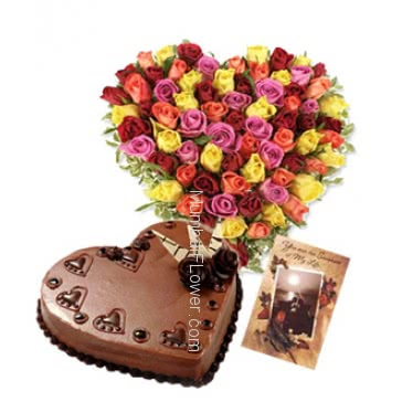Heart shape Arrangement of 100 Mixed Colored Roses nicely decorated with 1 kg. Heart shape Chocolate truffle cake and simple greeting card