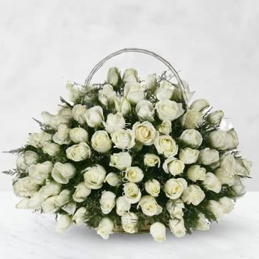 Basket of 75 White Roses with fillers and greens