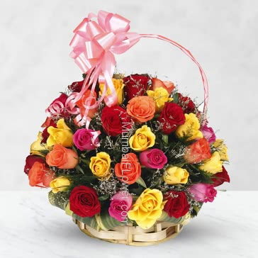 Basket of 40 Mixed Colored Roses with fillers and greens