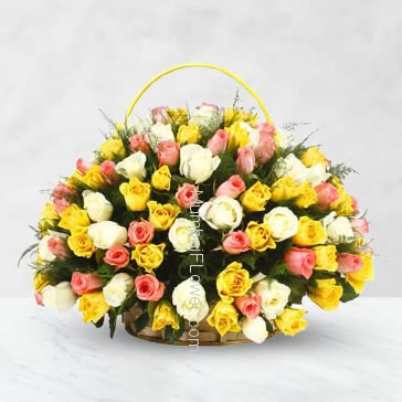 Basket of 70 Mixed Colored Roses with fillers and greens