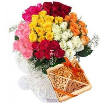 Bunch of 60 Mixed Colored Roses with Paper Packing and Half Kg. Mixed Dry fruits