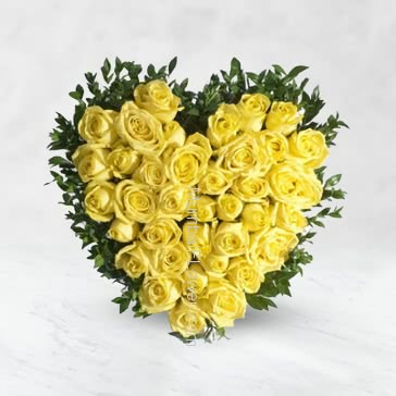 Heart Shape Arrangement of 50 Yellow Roses with fillers and greens