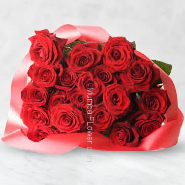 Bunch of 25 Red Roses with Plastic Cellophane Packing
