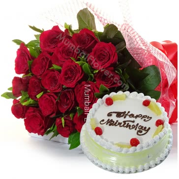 Bunch of 20 Red Roses with Plastic Cellophane packing and Half Kg. Pineapple cake