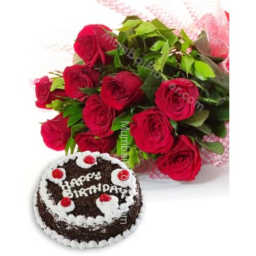 Bunch of 10 Red Roses with Plastic Cellophane packing and Half Kg. Black Forest cake