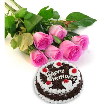 Bunch of 6 Pink Roses with Plastic Cellophane packing and Half Kg. Black Forest cake