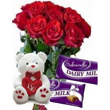 Bunch of 12 Red Roses with Plastic Cellophane packing, 12 Inch Teddy and 2 Pc Cadbury Dairy Milk Chocolate 25g. each