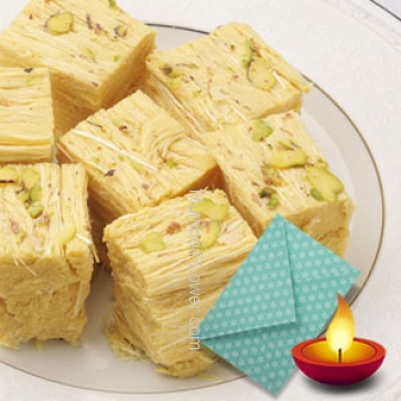 500 gms Soan Papdi with 1pc Diwali Greeting Card