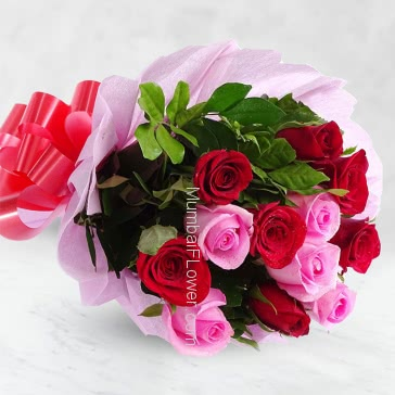 Bunch of 20 Red and Pink Roses nicely decorated with Paper Packing and ribbons