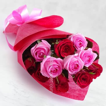 Hand Bouquet of 15 Red and Pink Roses nicely decorated with Paper Packing and ribbons