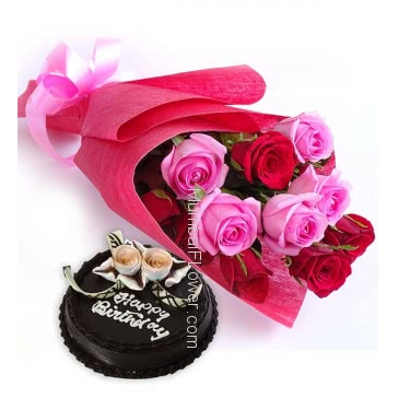 Bunch of 12 Red and Pink Roses nicely decorated with Paper Packing and ribbons and Half Kg. Chocolate Cake, Low Cost Combo