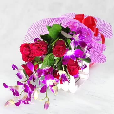 Bunch of 6 Red Roses and 5 Purple Orchids with Plastic Cellophane packing