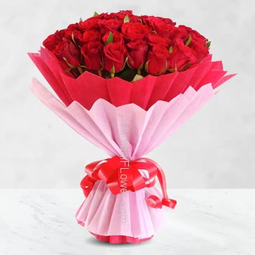 Amazing Hand Bunch of Lovely 40 Red Roses nicely decorated with fillers and ribbons, with exclusive paper packing.