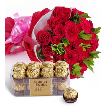 Bunch of 25 Red Roses nicely decorated with fillers ribbons and Paper packing, with 16 pc Fererro Rocher Box