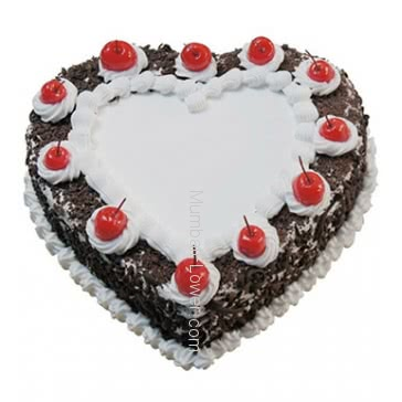 1 Kg. Heart Shape Black Forest Cake... Order 1 Day in advance. Please note : Cake icing may differ from shown picture.