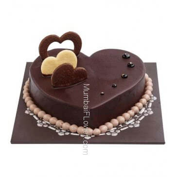 Half Kg. Heart Shape Premium Quality and Delicious Chocolate Cake ... Order 1 Day in advance. Please note : Cake icing may differ from shown picture.