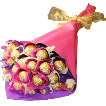 Simple Chocolate Bouquet of 20 Pc Ferrero Rocher Chocolates nicely decorated with Color Paper Packing and Ribbons