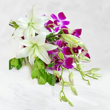 Hand Bunch of 2 Stems of Lilies and 5pc Purple Orchids with fillers and ribbons and cellophane packing