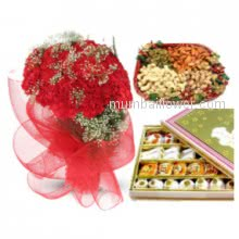 A spcial gift combo- Bunch of 30 Red Carnations, Pack of Half Kg. Mixed Dry Fruits and Mixed Mithai Combo, for the occasion like Weddings or for shagun.