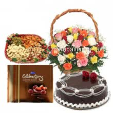 Perfect combo for any festival or celebrations like Rakhi, Diwali Basket of 30 Mixed Roses, Pack of Half kg. Dryfruit, Half Kg. Chocolate Cake and Small Cadbury Celebrations.