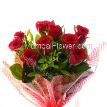 Bunch of 10 Lovely Red Roses to impress your loved once with romantic fragrance, its like bringing valentines day today.