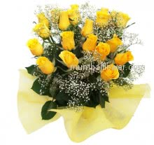 A friend is someone who gives you total freedom to be yourself. one Bunch of 20 Stems of Yellow Roses nicely decorated with Ribbons for your nearest and dearest friend.
