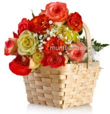 Flowers, especially roses, are used to convey the many emotions we have for each other. Be it love, Happiness or say sorry, sending roses is the perfect way to give someone a lift as well as send a message that you may be reluctant to say. Basket of 30 mixed colored Roses nicely decorated.