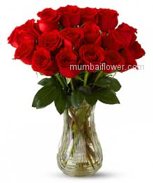 Valentine Red Roses known as a symbol of romantic love. The red rose is synonymous with passion and romance. For this reason, the red rose is often called the lovers rose. Bunch of 30 Red Roses in a Vase.
