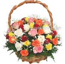 Rose bouquets have always been synonymous with romance and beauty. Basket of 30 Mixed Roses for your loved ones nicely decorated with Ribbons.