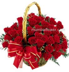 Rose is a beautiful flower. It is called the queen of flowers. Beautiful Basket of 40 Red Roses give to your love with nicely decorated Ribbons.