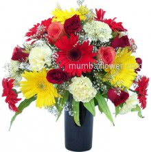 Colorful flowers are great for a variety of occasions. Mixed Color Flowers in a Vase.  <br>Note : Vase is not included.