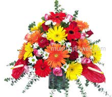 Send the perfect mix flower bouquet and make any occasion a Special Occasion. Glass Vase with Mixed Color Flowers .