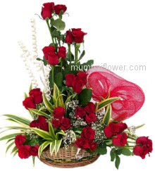 Beautiful Arrangement with 36 stems of Red Roses nicely decorated with greens for your love to express your love feeling.