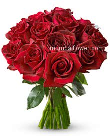 Lovely Bunch of 15 Red Roses for your Loved one. Best way to Compliment,Congratulate and express Love.