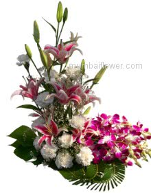Arrangement of 4 Lilies and 10 Purple Orchids and 10 White  Carnations-Roses