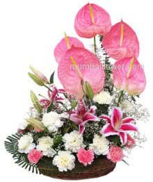 Arrangement of 5 Anthurium and 3 Pink Lililes and 15 Pink and White Carnations